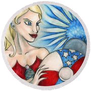American Mermaid Round Beach Towel