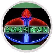 Round Beach Towel featuring the photograph American Oil Sign by Sandy Keeton