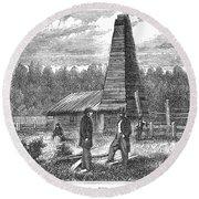 American Oil Well, 1859 Round Beach Towel