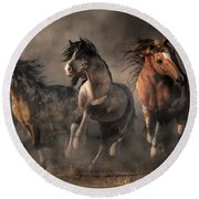 American Paint Horses Round Beach Towel