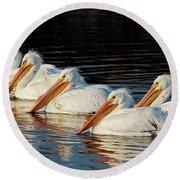 American Pelicans - 01 Round Beach Towel