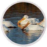 American Pelicans - 02 Round Beach Towel