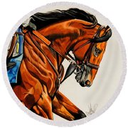 American Pharoah - Triple Crown Winner In White Round Beach Towel by Cheryl Poland