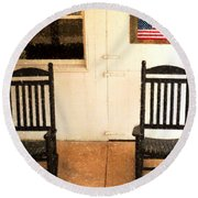 American Porch Round Beach Towel