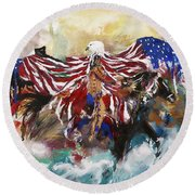 Round Beach Towel featuring the painting American Pride by Miroslaw  Chelchowski