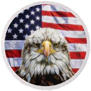 Round Beach Towel featuring the photograph American Pride by Scott Carruthers