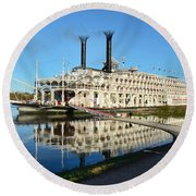 American Queen Steamboat Reflections On The Mississippi River Round Beach Towel