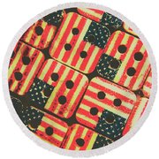 American Quilting Background Round Beach Towel