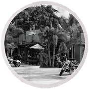 Round Beach Towel featuring the photograph American Roadhouse Bw by Laura Fasulo