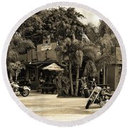 Round Beach Towel featuring the photograph American Roadhouse Sepia by Laura Fasulo