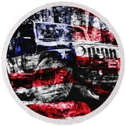 American Rock Crawler Round Beach Towel