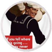 American Sailor -- Ww2 Propaganda Round Beach Towel