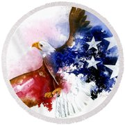 American Spirit Round Beach Towel