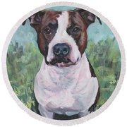 American Staffordshire Terrier Round Beach Towel