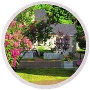 American Suburbia Round Beach Towel by Desiree Paquette