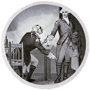 American Traitor General Benedict Arnold Instructing Andre To Hide Papers In His Boot  Round Beach Towel