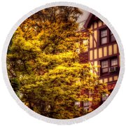 Round Beach Towel featuring the photograph American Tudor - The Beauty Of Autumn by Miriam Danar