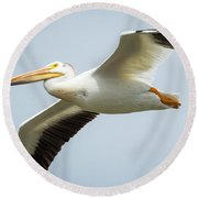 Round Beach Towel featuring the photograph  American White Pelican Flyby  by Ricky L Jones