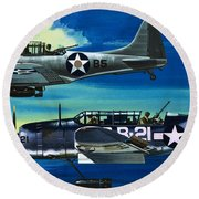 American Ww2 Planes Douglas Sbd1 Dauntless And Curtiss Sb2c1 Helldiver Round Beach Towel