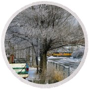 Americana And Hoarfrost Round Beach Towel by Eric Nielsen