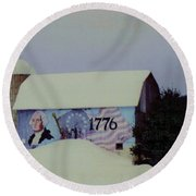 Americana Barn Round Beach Towel by Desiree Paquette