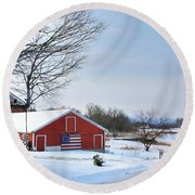 Round Beach Towel featuring the digital art Americana Barn In Vermont by Sharon Batdorf