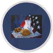 Americana Round Beach Towel by LaVonne Hand