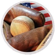 Americas Pastime Round Beach Towel by Pat Cook