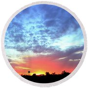 Round Beach Towel featuring the photograph City On A Hill - Americus, Ga Sunset by Jerry Battle