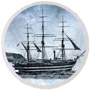 Amerigo Vespucci Sailboat In Blue Round Beach Towel