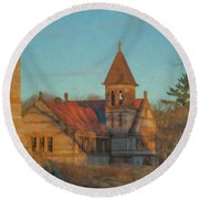 Ames Free Library At Solstice Round Beach Towel