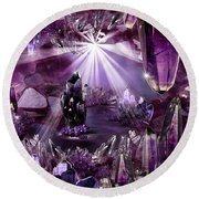 Amethyst Dreams Round Beach Towel