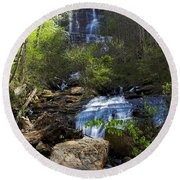 Amicalola Falls Round Beach Towel by Dan Wells