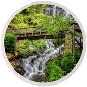 Round Beach Towel featuring the photograph Amicalola Falls Top To Bottom by Debra and Dave Vanderlaan