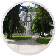 Amiens Cathedral - Park View Round Beach Towel by Therese Alcorn