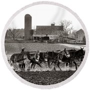Amish Agriculture  Round Beach Towel