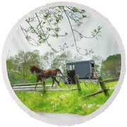 Amish Buggy Along Ronks Road Round Beach Towel