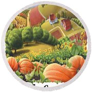 Amish Country - Pumpkin Patch Country Farm Landscape Round Beach Towel