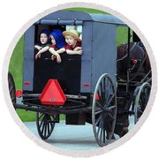 Amish Country Tour Round Beach Towel