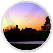 Amish Farm Sunset Round Beach Towel