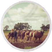 Amish Farming Round Beach Towel