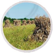 Round Beach Towel featuring the photograph Amish Harvest by Cricket Hackmann