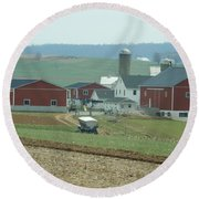 Amish Homestead 6 Round Beach Towel
