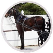 Amish Horse And Buggy In Lancaster County, Pennsylvania Round Beach Towel