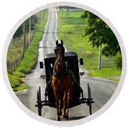 Amish Morning Commute Round Beach Towel