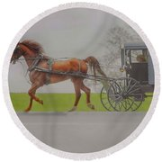 Amish Sunday Ride Round Beach Towel