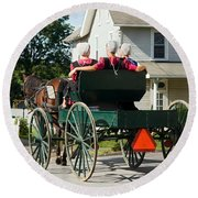 Amish Women Round Beach Towel