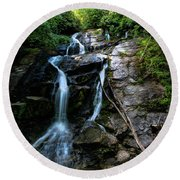 Ammon Creek Falls Round Beach Towel by Barbara Bowen