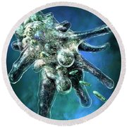 Amoeba Blue Round Beach Towel by Russell Kightley