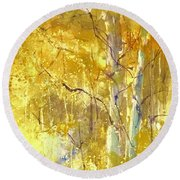 Among The Aspens Round Beach Towel